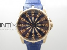Excalibur Knights of the Round Table II RG ZZF Blue/Gold Crystal Dial on Blue Leather Strap MIYOTA 8215