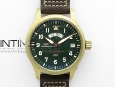 Pilot UTC Bronzo IW327101 ZF 1:1 Best Edition Dark Green Dial on Brown Leather Strap A35111