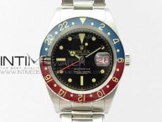 Vintage GMT Master Blue/Red Bezel Black Dial Style02 on SS Bracelet A2836