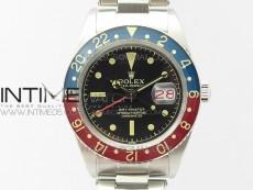 Vintage GMT Master Blue/Red Bezel Black Dial Style03 on SS Bracelet A2836