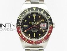 Vintage GMT Master Black/Red Bezel Black Dial Style03 on SS Bracelet A2836