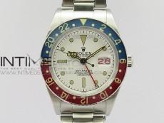 Vintage GMT Master Blue/Red Bezel White Dial on SS Bracelet A2836