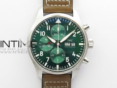 Pilot Chrono Spitfire IW3777 Green SS ZF 1:1 Best Edition Green Dial on Brown Leather Strap A7750