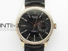Cellini 50519 Real Date RG BP Best Edition Black Dial Stick Markers on Black Leather Strap SA3165