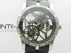 Excalibur Rddbex0393 SS Crystals Bezel BBR Best Edition Skeleton Dial on Black Leather Strap A2136 Tourbillon V2