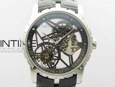 Excalibur Rddbex0393 SS BBR Best Edition Skeleton Dial on Black Leather Strap A2136 Tourbillon V2