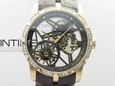 Excalibur Rddbex0393 RG Crystals Bezel BBR Best Edition Skeleton Dial on Brown Leather Strap A2136 Tourbillon V2