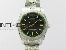 Milgauss 116400 904L Engraved SS DJF 11 Best Edition Black Dial on 904L Engraved SS Bracelet A2836 (Real Green Sapphire Crystal)