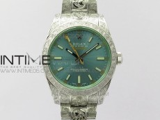 Milgauss 116400 904L Engraved SS DJF 11 Best Edition Blue Dial on 904L Engraved SS Bracelet A2836 (Real Green Sapphire Crystal)