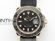 Yacht-Master 116655 RG Wrapped D1F 1:1 Best Edition Black Ceramic Bezel 904L Steel on Oysterflex Rubber Strap A2836