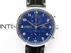 Portugieser Chronograph Edition 150 Years IW371601 ZF 1:1 Best Edition Blue Dial on Black Leather Strap A7750 (Slim Movement)