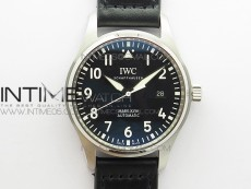 MARK XVIII IW327001 SS FKF 1:1 Best Edition Black Dial On Black Leather Strap