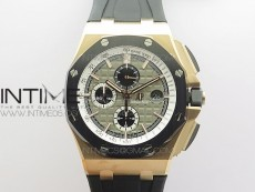 Royal Oak Offshore 26416 44mm RG V2 JF 1:1 Best Edition Gray Dial RG Markers on Rubber Strap A3126