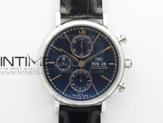 Portofino IW391001 SS ZF 1:1 Best Edition Blue Dial on Black leather strap A7750