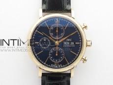 Portofino IW391022 RG ZF 1:1 Best Edition Blue Dial on Black leather strap A7750