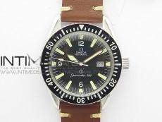 Vintage Seamaster 300 Date T SS B12 Black Dial On Brown Leather Strap A-2836 (Free Nylon Strap)
