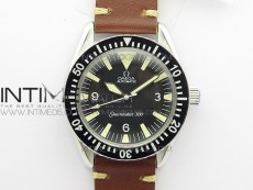 Vintage Seamaster 300 No Date SS B12 Black Dial On Brown Leather Strap A-2836 (Free Nylon Strap)