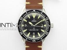 Vintage Seamaster 300 No Date T SS B12 Black Dial On Brown Leather Strap A-2836 (Free Nylon Strap)