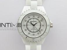 J12 38mm BV+ 1:1 Best Edition White Korea Ceramic White Dial Crystal Markers on Bracelet Calibre 12.1
