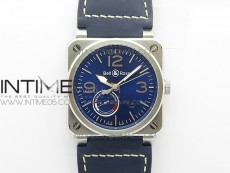 BR03-97 Automatic Power Reserve SS Blue Dial on Blue Leather Strap A23J (Free Nylon)