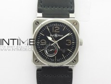 BR03-97 Automatic Power Reserve SS Black Dial on Black Leather Strap A23J (Free Nylon)