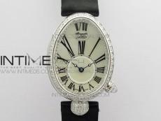 Reine de Naples 8928BB 33mm SS ZF 1:1 Best Edition White MOP Dial Roman Markers Diamonds Bezel on Black Fabric Strap A537