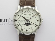 Villeret 6654 SS Complicated Function OMF 1:1 Best Edition White Dial on Brown Leather Strap A6654 V3