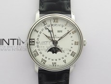 Villeret 6654 SS Complicated Function OMF 1:1 Best Edition White Dial on Black Leather Strap A6654 V3