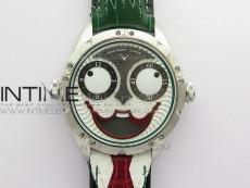 Konstantin Chaykin Joker SS TWF Best Edition White Dial Green Inner Bezel on Black Tie Leather Strap NH35A