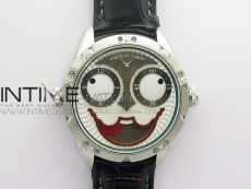 Konstantin Chaykin Joker SS TWF Best Edition White Dial Green Inner Bezel on Black Leather Strap NH35A
