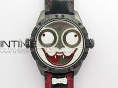 Konstantin Chaykin Joker PVD TWF Best Edition White Dial Black Inner Bezel on Black Tie Leather Strap NH35A