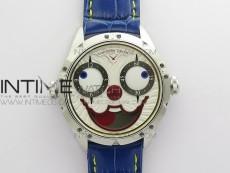 Konstantin Chaykin Joker SS TWF Best Edition White Dial Yellow Inner Bezel on Blue Leather Strap NH35A