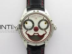 Konstantin Chaykin Joker SS TWF Best Edition White Dial Red Inner Bezel on Black Leather Strap NH35A