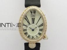 Reine de Naples 8928BB 33mm RG ZF 1:1 Best Edition White MOP Dial Roman Markers Diamonds Bezel on Black Fabric Strap A537