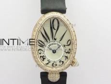 Reine de Naples 8928BB 33mm RG ZF 1:1 Best Edition White MOP Dial Numeral Markers Diamonds Bezel on Black Fabric Strap A537