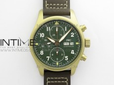 Pilot Chrono Spitfire IW387902 Bronzo ZF 1:1 Best Edition Green Dial on Brown Leather Strap A7750