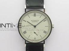 Tangomat Automatic 38mm SS MKS 1:1 Best Edition White Dial Roman Markers on Black Leather Strap A23J