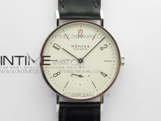 """Tangente 38mm MKS 1:1 Best Edition White Dial Red """"12"""" on Black Leather Strap A23J"""