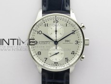 Portuguese IW371605 ZF V3 1:1 Best Edition SS White Dial Blue Markers on Blue Leather Strap A96355