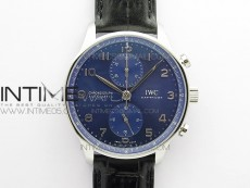 Portuguese IW371606 ZF V3 1:1 Best Edition SS Blue Dial on Black Leather Strap A96355
