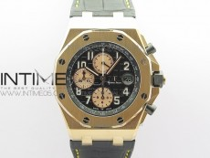 Royal Oak Offshore 2019 Gold JF 1:1 Best Edition on Black Leather Strap A3126 V2 w/ Cyclops and DW Mod