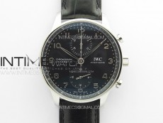 Portuguese IW371609 ZF V3 1:1 Best Edition SS Black Dial on Black Leather Strap A96355