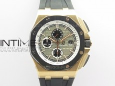 Royal Oak Offshore 26416 44mm RG JF 1:1 Best Edition Gray Dial RG Markers on Rubber Strap A3126 V2