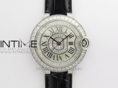 Ballon Bleu T Diamond SS Full Paved Diamonds with Roman Markers Dial on Black Leather Strap Miyota 9015