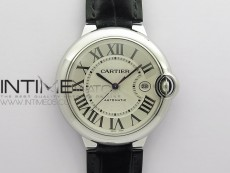 Ballon Bleu 42mm SS AF 1:1 Best Edition White Texture Dial on Black Leather Strap A2824