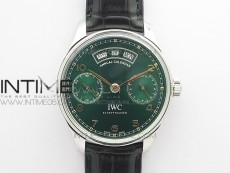 Portuguese Real PR Real Annual Calendar IW503510 ZF 1:1 Best Edition Green Dial on Black Leather Strap A52850