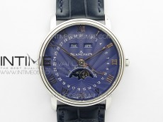 Villeret 6654 SS Complicated Function OMF 1:1 Best Edition Blue Dial on Blue Leather Strap A6654 V3