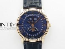 Villeret 6654 RG Complicated Function OMF 1:1 Best Edition Blue Dial on Blue Leather Strap A6654 V3