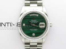 Day date 432118 36mm SS EDF Best Edition Green Malachite Dial Crystal Markers on SS President Bracelet A2836