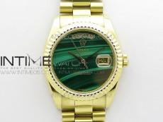 Day date 432118 36mm YG EDF Best Edition Green Malachite Dial on SS President Bracelet A2836